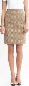 Geo Dot Pencil Skirt - style: pencil; fit: tailored/fitted; pattern: polka dot; waist: mid/regular rise; predominant colour: camel; occasions: casual, evening, work; length: just above the knee; fibres: cotton - mix; texture group: cotton feel fabrics; trends: modern geometrics; pattern type: fabric; pattern size: small &amp; busy