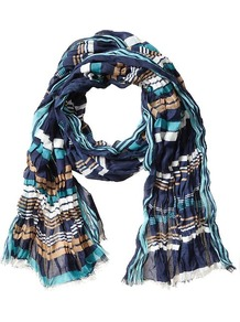 Delilah Print Scarf - predominant colour: navy; occasions: casual, work; type of pattern: standard; style: regular; size: standard; material: fabric; embellishment: fringing; trends: striking stripes; pattern: striped