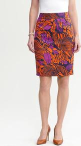 Tropical Floral Pencil Skirt - style: pencil; fit: tailored/fitted; hip detail: fitted at hip; waist: mid/regular rise; occasions: casual, evening, work, holiday; length: just above the knee; fibres: linen - mix; predominant colour: multicoloured; texture group: cotton feel fabrics; trends: high impact florals, statement prints, modern geometrics; pattern type: fabric; pattern size: big &amp; busy; pattern: florals