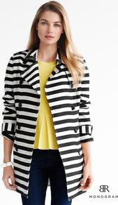 Br Monogram - pattern: horizontal stripes; style: trench coat; collar: standard lapel/rever collar; length: mid thigh; predominant colour: black; occasions: casual, evening, work, occasion; fit: straight cut (boxy); fibres: polyester/polyamide - mix; sleeve length: long sleeve; sleeve style: standard; trends: striking stripes; collar break: medium; pattern type: fabric; pattern size: standard; texture group: other - light to midweight