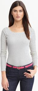 Dot Print Timeless Tee - neckline: round neck; waist detail: fitted waist; pattern: polka dot; hip detail: fitted at hip; predominant colour: white; occasions: casual, work; length: standard; style: top; fibres: cotton - stretch; fit: tight; sleeve length: long sleeve; sleeve style: standard; texture group: cotton feel fabrics; pattern type: fabric; pattern size: small & busy