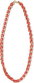 Link Necklace - predominant colour: bright orange; secondary colour: gold; occasions: casual, holiday; style: standard; length: long; size: standard; material: chain/metal; finish: plain