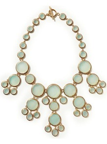 Delhi Delight Semi Precious Necklace - predominant colour: pistachio; occasions: evening, occasion, holiday; style: bib; length: mid; size: large/oversized; material: chain/metal; finish: plain; embellishment: jewels