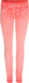 Casey Mid Rise Skinny Jeans - style: skinny leg; length: standard; pattern: plain; pocket detail: traditional 5 pocket; waist: mid/regular rise; predominant colour: bright orange; occasions: casual; fibres: cotton - mix; texture group: denim; pattern type: fabric