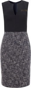 Navy Contrast Tweed Skirt Dress Size - style: shift; neckline: v-neck; sleeve style: sleeveless; waist detail: fitted waist; shoulder detail: contrast pattern/fabric at shoulder; pattern: herringbone/tweed; back detail: contrast pattern/fabric at back; predominant colour: navy; occasions: casual, evening, work; length: just above the knee; fit: body skimming; fibres: cotton - mix; sleeve length: sleeveless; trends: glamorous day shifts; pattern type: fabric; pattern size: standard; texture group: tweed - light/midweight