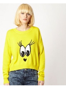 Bright Yellow Eyes Jumper - neckline: round neck; style: standard; hip detail: fitted at hip; predominant colour: yellow; occasions: casual; length: standard; fibres: cotton - 100%; fit: loose; bust detail: contrast pattern/fabric/detail at bust; sleeve length: long sleeve; sleeve style: standard; texture group: knits/crochet; trends: statement prints; pattern type: knitted - other; pattern size: big & light; pattern: patterned/print