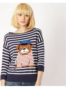 Dark Blue Striped Pug Jumper - neckline: slash/boat neckline; pattern: horizontal stripes; style: standard; predominant colour: navy; occasions: casual, holiday; length: standard; fibres: cotton - 100%; fit: standard fit; bust detail: contrast pattern/fabric/detail at bust; sleeve length: 3/4 length; sleeve style: standard; texture group: knits/crochet; trends: striking stripes; pattern type: knitted - fine stitch; pattern size: standard