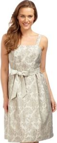 Beaded Jacquard Prom Dress - sleeve style: spaghetti straps; pattern: plain; style: prom dress; waist detail: belted waist/tie at waist/drawstring; predominant colour: ivory; occasions: evening, occasion; length: on the knee; fit: fitted at waist & bust; fibres: polyester/polyamide - mix; sleeve length: sleeveless; trends: volume; neckline: medium square neck; pattern type: fabric; pattern size: standard; texture group: brocade/jacquard; embellishment: beading