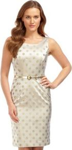Gold Spot Shift Dress - style: shift; neckline: round neck; fit: tailored/fitted; sleeve style: sleeveless; pattern: polka dot; waist detail: belted waist/tie at waist/drawstring; predominant colour: ivory; occasions: evening, work, occasion; length: just above the knee; fibres: polyester/polyamide - mix; sleeve length: sleeveless; texture group: structured shiny - satin/tafetta/silk etc.; trends: glamorous day shifts, metallics; pattern type: fabric; pattern size: standard
