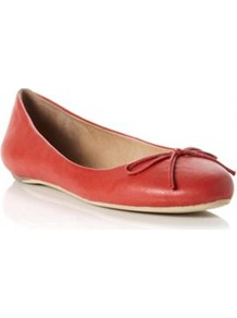 Red Leather Muswell Simple Leather Bow Front Ballerina - predominant colour: terracotta; occasions: casual; material: leather; heel height: flat; toe: round toe; style: ballerinas / pumps; finish: plain; pattern: plain