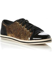 Black Suede Leap Snake Print Metallic Lace Up Trainer - predominant colour: bronze; secondary colour: black; occasions: casual; material: faux leather; heel height: flat; toe: round toe; style: trainers; trends: metallics; finish: patent; pattern: colourblock; embellishment: toe cap