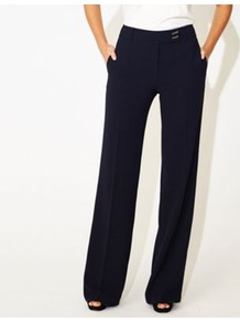 Navy Tailored Sicily Trousers - pattern: plain; length: extra long; waist: mid/regular rise; predominant colour: navy; occasions: work; fibres: polyester/polyamide - stretch; fit: wide leg; pattern type: fabric; texture group: woven light midweight; style: standard