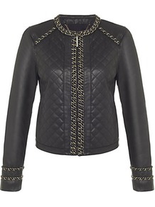 Quilted Leather Jacket - pattern: plain; collar: round collar/collarless; style: boxy; predominant colour: black; occasions: casual, evening; length: standard; fit: straight cut (boxy); fibres: leather - 100%; shoulder detail: added shoulder detail; sleeve length: long sleeve; sleeve style: standard; texture group: leather; collar break: high; pattern type: fabric; embellishment: chain/metal