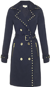 Studded Trench Coat - bust detail: added detail/embellishment at bust; style: trench coat; collar: standard lapel/rever collar; length: mid thigh; predominant colour: navy; occasions: casual, evening, work, occasion; fit: tailored/fitted; fibres: cotton - mix; waist detail: belted waist/tie at waist/drawstring; shoulder detail: added shoulder detail; back detail: back vent/flap at back; sleeve length: long sleeve; sleeve style: standard; trends: glamorous day shifts; collar break: medium; pattern type: fabric; pattern size: small & light; texture group: other - light to midweight; embellishment: beading