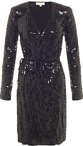 Sequin Wrap Dress - style: faux wrap/wrap; neckline: low v-neck; fit: fitted at waist; pattern: plain; waist detail: belted waist/tie at waist/drawstring; predominant colour: black; occasions: evening, occasion; length: just above the knee; fibres: viscose/rayon - 100%; sleeve length: long sleeve; sleeve style: standard; pattern type: fabric; texture group: other - light to midweight; embellishment: sequins