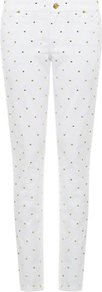 Studded Skinny Jeans - style: skinny leg; length: standard; pattern: plain; pocket detail: traditional 5 pocket; waist: mid/regular rise; predominant colour: white; occasions: casual, evening; fibres: cotton - stretch; texture group: denim; pattern type: fabric; embellishment: studs