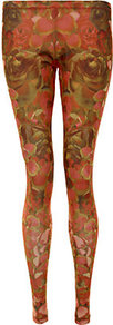 Rose Petal Print Leggings - length: standard; style: leggings; waist: low rise; secondary colour: coral; predominant colour: bronze; occasions: casual; fibres: polyester/polyamide - stretch; texture group: jersey - clingy; trends: high impact florals; fit: skinny/tight leg; pattern type: fabric; pattern size: big &amp; busy; pattern: patterned/print