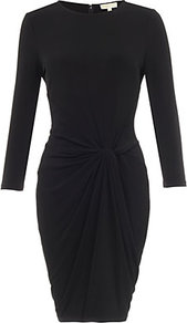 Knotted Jersey Dress - style: shift; pattern: plain; waist detail: twist front waist detail/nipped in at waist on one side/soft pleats/draping/ruching/gathering waist detail; predominant colour: black; occasions: casual, evening, work, occasion; length: just above the knee; fit: body skimming; fibres: polyester/polyamide - stretch; neckline: crew; hip detail: soft pleats at hip/draping at hip/flared at hip; sleeve length: 3/4 length; sleeve style: standard; pattern type: fabric; texture group: jersey - stretchy/drapey