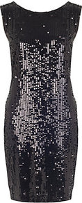Sequin Dress - style: shift; neckline: round neck; fit: tailored/fitted; pattern: plain; sleeve style: sleeveless; back detail: low cut/open back; predominant colour: black; occasions: evening, occasion; length: just above the knee; fibres: viscose/rayon - 100%; sleeve length: sleeveless; pattern type: fabric; texture group: other - light to midweight; embellishment: sequins