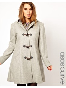 Curve Swing Duffle Coat - pattern: plain; bust detail: added detail/embellishment at bust; fit: loose; back detail: hood; collar: high neck; style: duffle coat; length: mid thigh; predominant colour: light grey; occasions: casual, work; fibres: wool - mix; shoulder detail: discreet epaulette; sleeve length: long sleeve; sleeve style: standard; collar break: high; pattern type: fabric; texture group: other - bulky/heavy
