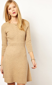 Nw3 Knitted Flared Dress - neckline: slash/boat neckline; pattern: plain; predominant colour: camel; occasions: casual, work; length: just above the knee; fit: fitted at waist &amp; bust; style: fit &amp; flare; fibres: cotton - mix; sleeve length: 3/4 length; sleeve style: standard; texture group: knits/crochet; pattern type: knitted - fine stitch