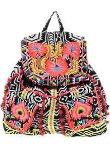 Floral Weave Backpack - occasions: casual, holiday; predominant colour: multicoloured; type of pattern: heavy; style: rucksack; length: rucksack; size: standard; material: fabric; embellishment: embroidered; trends: statement prints, fluorescent; finish: plain; pattern: patterned/print
