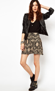 Skater Skirt In Aztec Print - length: mid thigh; fit: loose/voluminous; waist: high rise; predominant colour: stone; occasions: casual, evening, work; style: fit &amp; flare; fibres: cotton - stretch; hip detail: structured pleats at hip; trends: statement prints; pattern type: fabric; pattern size: big &amp; busy; pattern: patterned/print; texture group: jersey - stretchy/drapey