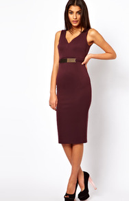 Pencil Dress With Gold Belt - length: below the knee; neckline: v-neck; fit: tight; pattern: plain; sleeve style: sleeveless; style: bodycon; waist detail: belted waist/tie at waist/drawstring; predominant colour: aubergine; occasions: evening, work, occasion; fibres: polyester/polyamide - stretch; sleeve length: sleeveless; texture group: jersey - clingy; trends: glamorous day shifts; pattern type: fabric