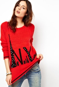 Nyc Jumper - neckline: round neck; sleeve style: raglan; style: standard; predominant colour: true red; occasions: casual; length: standard; fibres: acrylic - mix; fit: loose; sleeve length: long sleeve; texture group: knits/crochet; pattern type: knitted - other; pattern size: standard; pattern: patterned/print