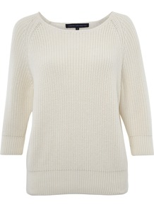 Mozart Knitted Jumper - neckline: round neck; pattern: plain; style: standard; predominant colour: white; occasions: casual, work; length: standard; fibres: cotton - 100%; fit: standard fit; sleeve length: 3/4 length; sleeve style: standard; texture group: knits/crochet; pattern type: knitted - other