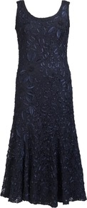 Pre Order Navy Lace Dress Embellished With Cornelli - length: calf length; sleeve style: standard vest straps/shoulder straps; pattern: plain; fit: bias; waist detail: fitted waist; predominant colour: navy; occasions: evening, occasion; style: fit & flare; neckline: scoop; fibres: nylon - mix; hip detail: soft pleats at hip/draping at hip/flared at hip; sleeve length: sleeveless; texture group: lace; pattern type: fabric; embellishment: embroidered