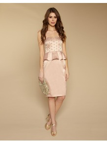 Claudia Strapless Dress - style: shift; neckline: round neck; fit: tailored/fitted; sleeve style: strapless; bust detail: added detail/embellishment at bust; hip detail: fitted at hip; shoulder detail: contrast pattern/fabric at shoulder; waist detail: peplum waist detail; predominant colour: nude; occasions: evening, occasion; length: on the knee; fibres: polyester/polyamide - mix; sleeve length: sleeveless; texture group: structured shiny - satin/tafetta/silk etc.; pattern type: fabric; embellishment: beading