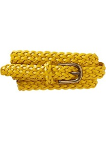 Braided Belt - predominant colour: yellow; occasions: casual, evening, work, holiday; type of pattern: standard; style: plaited/woven; size: skinny; worn on: hips; material: leather; pattern: plain; trends: fluorescent; finish: plain; embellishment: buckles