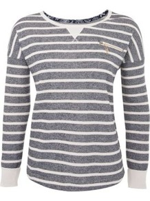 Blue Faded Stripe Zip Pocket Sweater - neckline: round neck; pattern: horizontal stripes; style: standard; secondary colour: white; predominant colour: mid grey; occasions: casual; length: standard; fibres: polyester/polyamide - mix; fit: standard fit; sleeve length: long sleeve; sleeve style: standard; texture group: cotton feel fabrics; pattern type: fabric; pattern size: standard