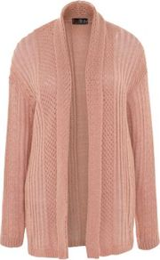 Pink Open Front Knitted Cardigan - pattern: plain; neckline: collarless open; style: open front; predominant colour: pink; occasions: casual, work; length: standard; fibres: acrylic - mix; fit: loose; sleeve length: long sleeve; sleeve style: standard; texture group: knits/crochet; pattern type: knitted - other