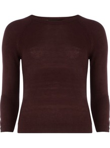 Burgundy Raglan Jumper - sleeve style: raglan; style: standard; hip detail: fitted at hip; predominant colour: burgundy; occasions: casual, work; length: standard; fibres: acrylic - 100%; fit: slim fit; neckline: crew; waist detail: fitted waist; sleeve length: 3/4 length; texture group: knits/crochet; pattern type: knitted - fine stitch