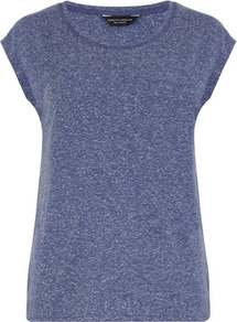Blue Neppy Tee - neckline: round neck; sleeve style: capped; pattern: plain; style: t-shirt; predominant colour: navy; occasions: casual, work; length: standard; fibres: cotton - mix; fit: straight cut; sleeve length: short sleeve; texture group: cotton feel fabrics; pattern type: fabric; pattern size: standard