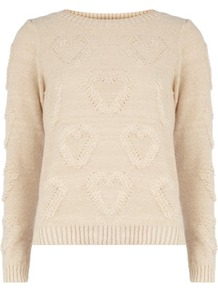 Ivory Mini Loopy Hearts Jumper - neckline: round neck; pattern: plain; style: standard; shoulder detail: contrast pattern/fabric at shoulder; back detail: contrast pattern/fabric at back; predominant colour: ivory; occasions: casual, work; length: standard; fibres: acrylic - mix; fit: standard fit; bust detail: contrast pattern/fabric/detail at bust; sleeve length: long sleeve; sleeve style: standard; texture group: knits/crochet; pattern type: knitted - other; pattern size: small &amp; light