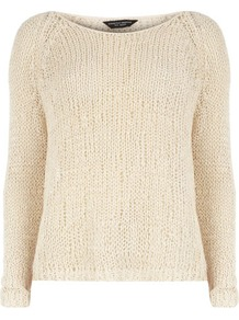 Oat Slub Tape Jumper - neckline: round neck; bust detail: sheer at bust; style: standard; hip detail: fitted at hip; predominant colour: nude; occasions: casual, work; length: standard; fibres: cotton - mix; fit: standard fit; sleeve length: long sleeve; sleeve style: standard; texture group: knits/crochet; pattern type: knitted - other; pattern size: standard
