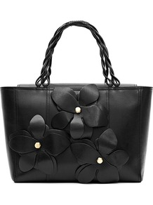 Angelo Leather Flower Applique Handheld Bag - secondary colour: gold; predominant colour: black; occasions: casual, evening, work, occasion, holiday; type of pattern: standard; style: tote; length: handle; size: standard; material: leather; embellishment: applique; pattern: plain; finish: plain