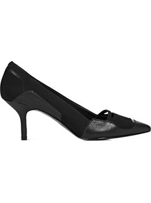 Maude Patchwork Mid Heel Court - predominant colour: black; secondary colour: black; occasions: evening, work, occasion; material: leather; heel height: mid; heel: kitten; toe: pointed toe; style: courts; finish: plain; pattern: plain