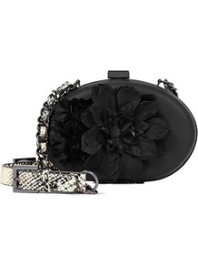 Flis Flower Emebellished Evening Bag - predominant colour: black; occasions: evening, occasion; type of pattern: standard; style: clutch; length: shoulder (tucks under arm); size: small; material: fabric; pattern: plain; finish: patent; embellishment: corsage