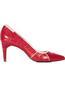 Dominique Panel Detail Mid Heel Court - predominant colour: true red; occasions: evening, work, occasion; material: leather; heel height: mid; heel: stiletto; toe: pointed toe; style: courts; finish: plain; pattern: plain