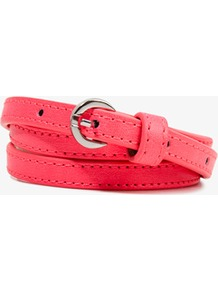 Skinny Faux Leather Waist Belt - predominant colour: coral; occasions: casual, evening, work, holiday; type of pattern: small; style: classic; size: skinny; worn on: waist; material: faux leather; pattern: plain; trends: fluorescent; finish: plain; embellishment: buckles