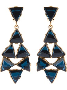 Crystal Drop Earrings - predominant colour: navy; occasions: evening, occasion, holiday; style: drop; length: long; size: large/oversized; material: chain/metal; fastening: clip on; finish: plain; embellishment: jewels