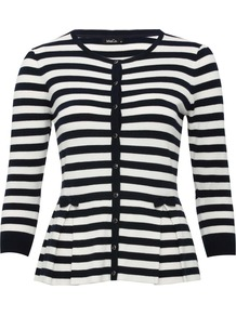 Women's Striped Peplum Cardigan - neckline: round neck; pattern: horizontal stripes; secondary colour: white; predominant colour: black; occasions: casual, evening, work; length: standard; style: standard; fibres: viscose/rayon - stretch; fit: slim fit; waist detail: peplum detail at waist; sleeve length: 3/4 length; sleeve style: standard; texture group: knits/crochet; pattern type: knitted - other; pattern size: standard