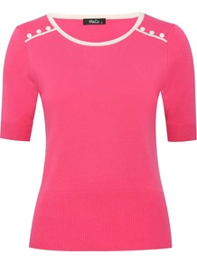 Women's Button Yoke Top With Contrast Trim - neckline: round neck; style: standard; hip detail: fitted at hip; predominant colour: hot pink; occasions: casual, evening, work; length: standard; fibres: nylon - mix; fit: slim fit; waist detail: fitted waist; shoulder detail: added shoulder detail; sleeve length: short sleeve; sleeve style: standard; texture group: knits/crochet; trends: fluorescent; pattern type: knitted - fine stitch; pattern size: standard