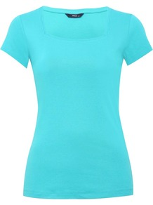 Women's Square Neck T Shirt - pattern: plain; style: t-shirt; predominant colour: turquoise; occasions: casual, work, holiday; length: standard; fibres: cotton - 100%; fit: body skimming; sleeve length: short sleeve; sleeve style: standard; neckline: low square neck; pattern type: fabric; pattern size: standard; texture group: jersey - stretchy/drapey