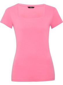 Women's Square Neck T Shirt - neckline: high square neck; pattern: plain; style: t-shirt; predominant colour: pink; occasions: casual, work; length: standard; fibres: cotton - 100%; fit: straight cut; sleeve length: short sleeve; sleeve style: standard; pattern type: fabric; pattern size: standard; texture group: jersey - stretchy/drapey