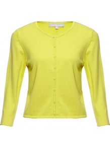 Coralee Cardigan - neckline: round neck; pattern: plain; length: cropped; predominant colour: yellow; occasions: casual, work, holiday; style: standard; fibres: silk - mix; fit: slim fit; sleeve length: 3/4 length; sleeve style: standard; texture group: knits/crochet; pattern type: knitted - fine stitch